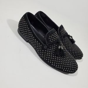 Aldo Mens Black McCrery Suede Studded Loafers